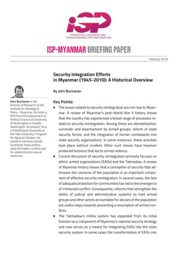 Security integration efforts in Myanmar (1945-2010): A historical overview