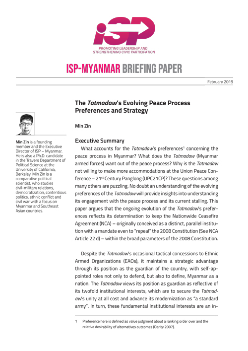 Evolving Preference and Strategy of Tatmadaw Regarding Peace Process in Myanmar